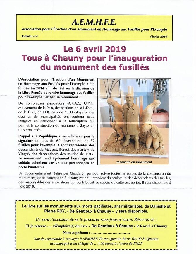 Un monument pour les 639 fusillés pour l'exemple 14-18: C'est à Chauny