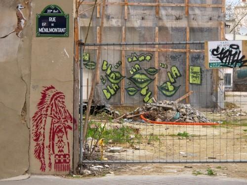 Street-art Ménilmontant Indien plaque 9731