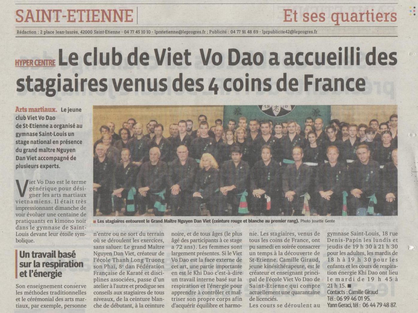 Article La Tribune - Stage Tous niveaux Saint-Etienne - 27/10/2014