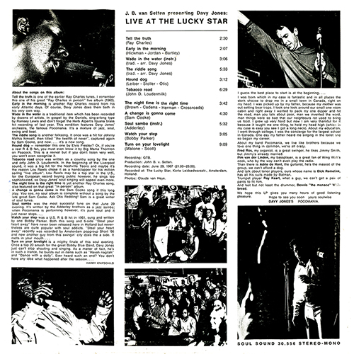 "1967 : Album "" Live At The Lucky Star "" Soul Sound Records 30.556 [ NL ]"