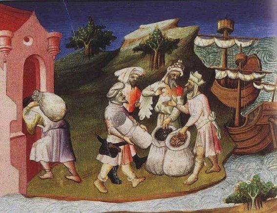 Le commerce du poivre et des épices sur le Fleuve jaune, miniature du Livre des merveilles de Marco Polo, 1412, Paris, BnF