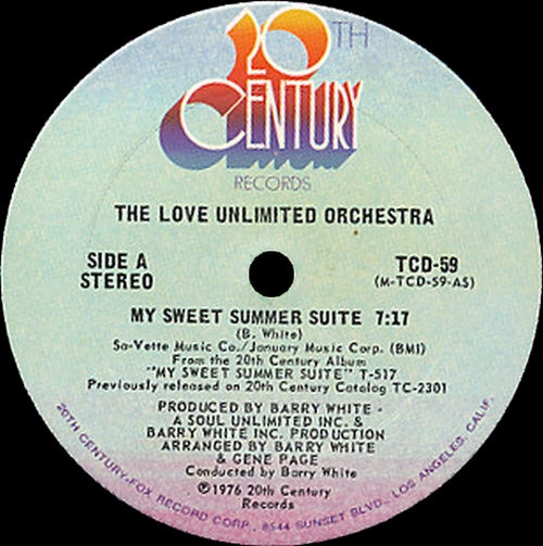"The Love Unlimited Orchestra 1976 : Album "" My Sweet Summer Suite "" 20Th Century Records T-517 [ US ]"