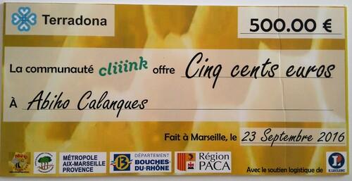 2016-09-23 Remise du chèque de 500 € de la Socièté Terra Donna