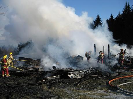 Triste fin d'annéeà Stornoway: Une écurie est la proie des flammes et 9 chevaux périssent