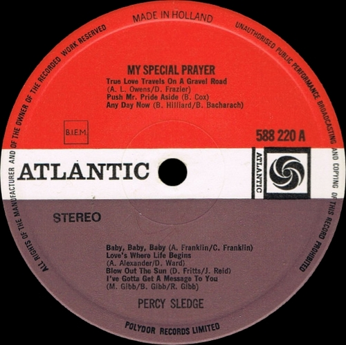 "Percy Sledge : Album "" My Special Prayer "" Atlantic Records 588 220 [ NL ]"