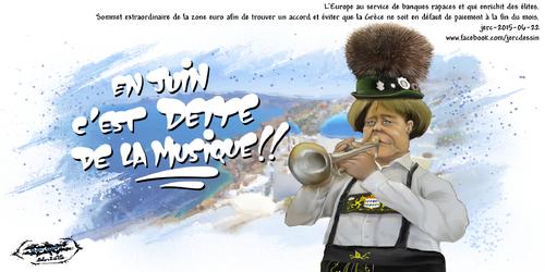 dessin de JERC du Lundi 22 juin 2015 caricature Angela Merkel. La chancelière allemande au service des banques qui avaient été sauvées de la crise en 2008 avec le concours de la BCE et qui ont prêté à