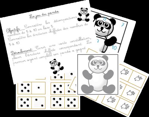 Le jeu du panda - nombres de 5 à 10