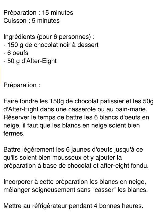 Mousse au chocolat à la menthe de Matthieu