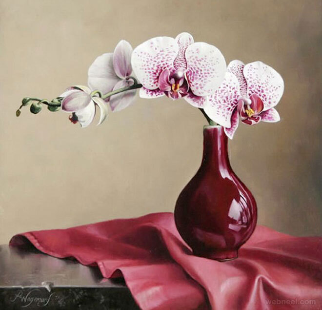 hyper realistic flower painting