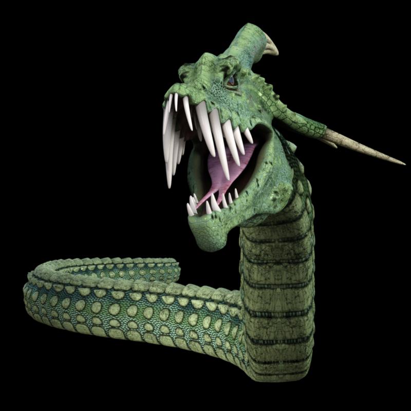 Tube de monstre rampant vert (render)