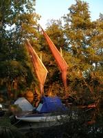 tente sur canot, cabaner, voile-avirons, raid nautique, Pirmil