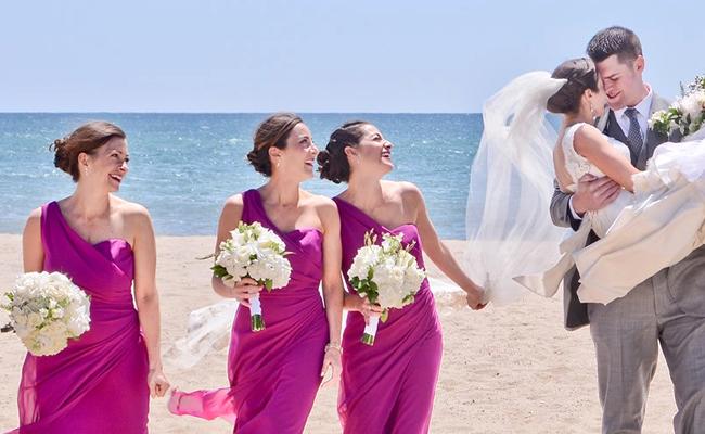 robes de demoiselle d'honneur fuchsia longue asymétrique de plage
