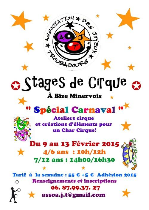 """Stage de cirque """"Spécial Carnaval"""" du 9 au 13 février 2015"""