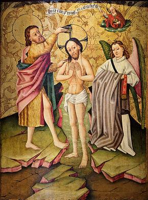 Le baptême du Christ, Maître de Rheinfelden, actif dans la région de Bâle, milieu du XVe siècle