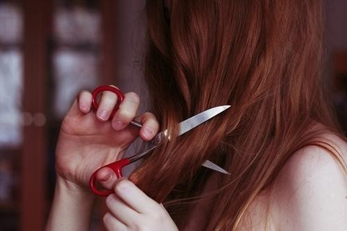 cutting, girl, red hair