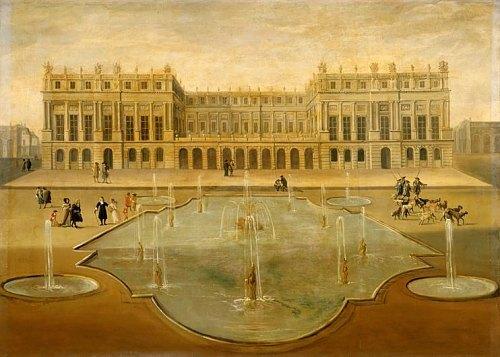 Vue du château de Versailles sur le parterre d'eau vers 1675