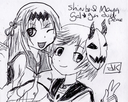 Shinobu et Maya du jeu Gal*Gun Double Peace