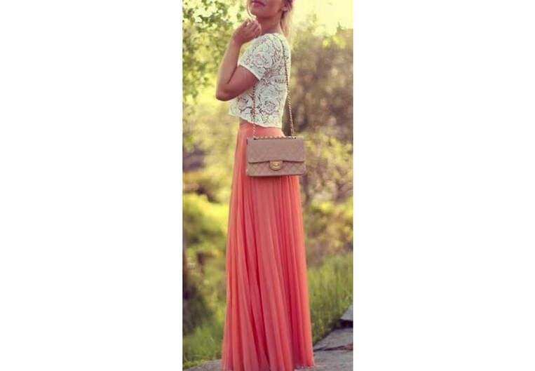 La jupe longue corail