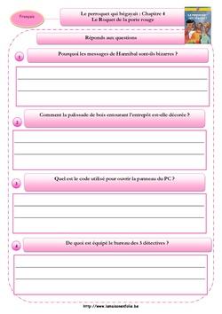 Le perroquet qui bégayait: Questionnaires chapitres 1 à 4