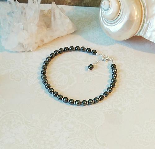 Bracelet ajustable pierre hématite gris anthracite 4mm / plaqué argent
