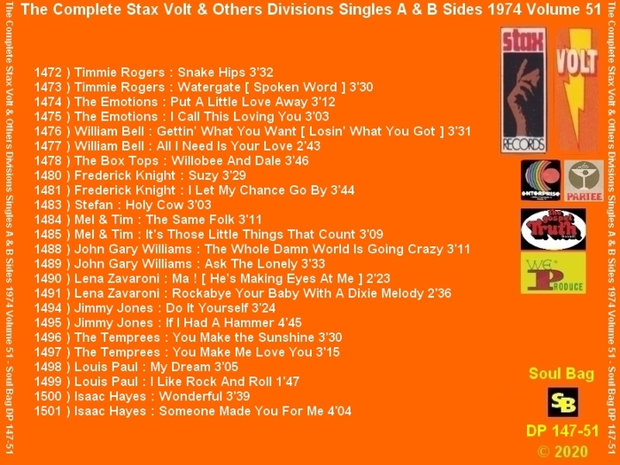 """ The Complete Stax-Volt Singles A & B Sides Vol. 51 Stax & Volt Records & Others Divisions "" SB Records DP 147-51 [ FR ]"