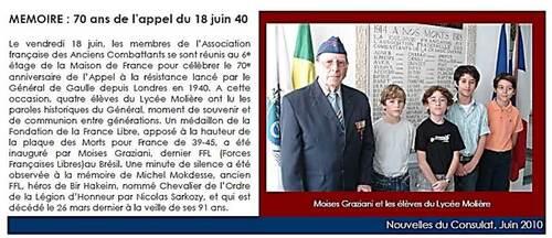 * Disparition au Brésil d'un Français Libre du Groupe des Orientales, Moises GRAZIANI (1er RA)