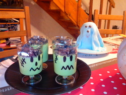 * Cuisine halloween: les crèmes frankenstein