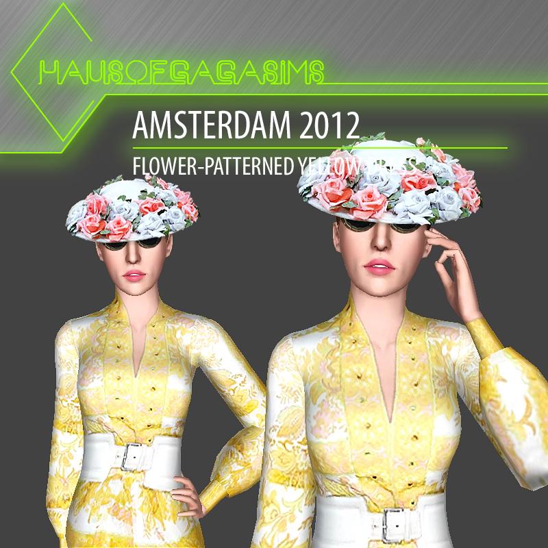 AMSTERDAM 2012 FLOWER-PATTERNED YELLOW DRESS