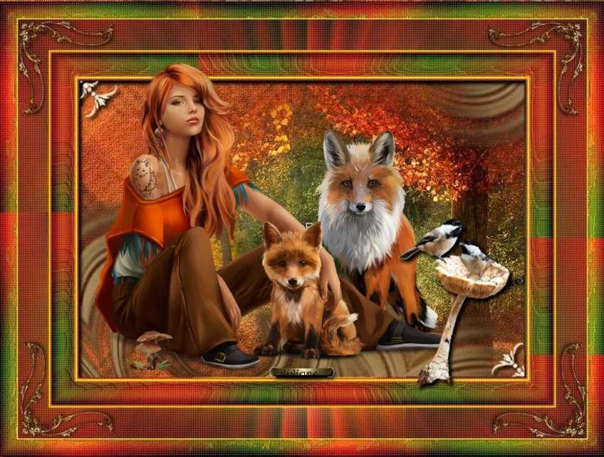 La dame aux renards , au rapace
