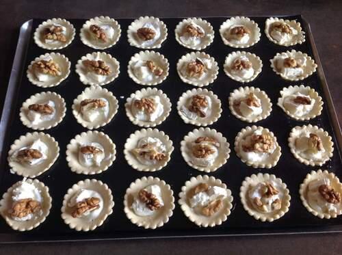 Mini  tartelettes chevre miel noix