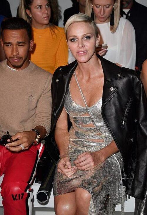 Charlène à Milan le 22 septembre - Versace