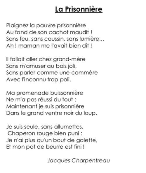 Poésie CE2 : «La prisonnière» (Jacques Charpentreau)