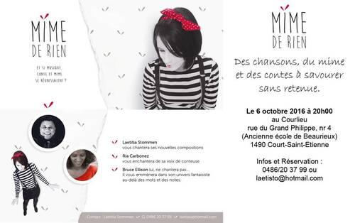 ° Jeudi 6 octobre 20h : MIME de RIEN , des chansons, du mime et des contes à savourer...