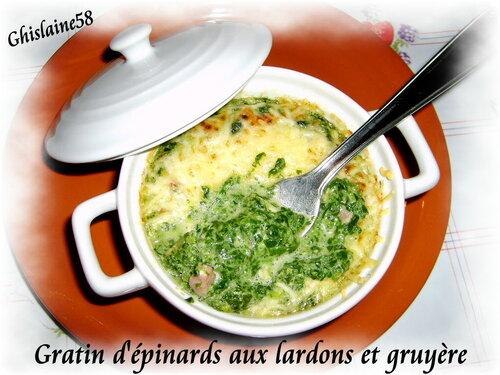 Gratin d'épinards aux lardons et gruyère