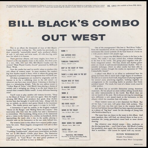 "Bill Black Combo : Album "" Goes West "" Hi Records HL 12013 [ US ]"