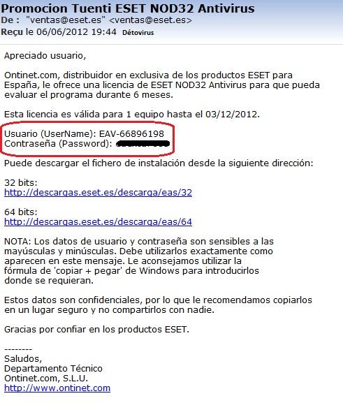 Eset Nod32 Antivirus 5 - Licence 6 mois gratuit