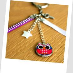 Joli porte-clés grigri ou bijou de sac hibou rose
