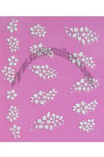Stickers d'ongles fleurs blanches en duo et strass