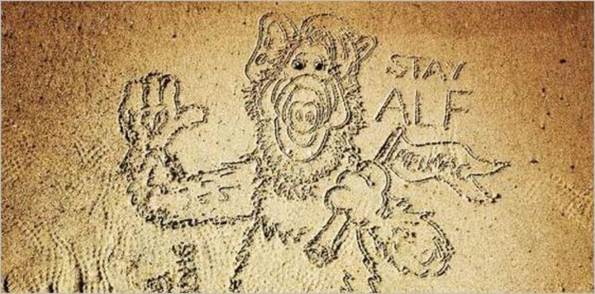 Sur le sable, le message de Sally