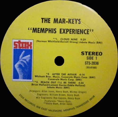 "The Mar-Keys : Album "" Memphis Experience "" Stax Records STS 2036 [ US ]"