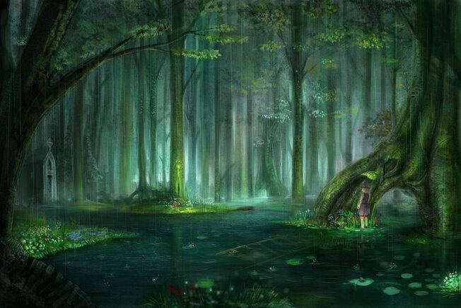 Anime, forêt, pluie, gouttes, eau, météo, humeur Wallpaper