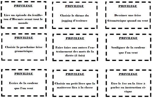Cartes privilèges