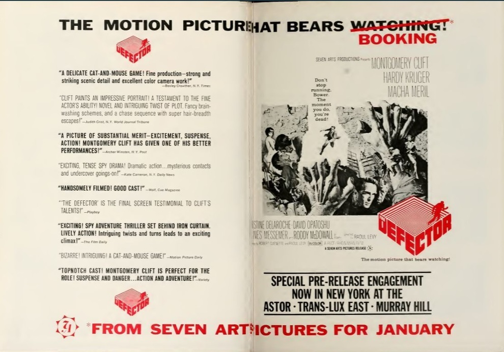THE DEFECTOR BOX OFFICE USA 1966