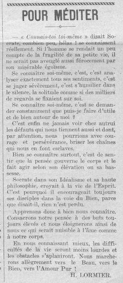 Connais-toi toi-même (Le Fraterniste, 15 sept 1927)