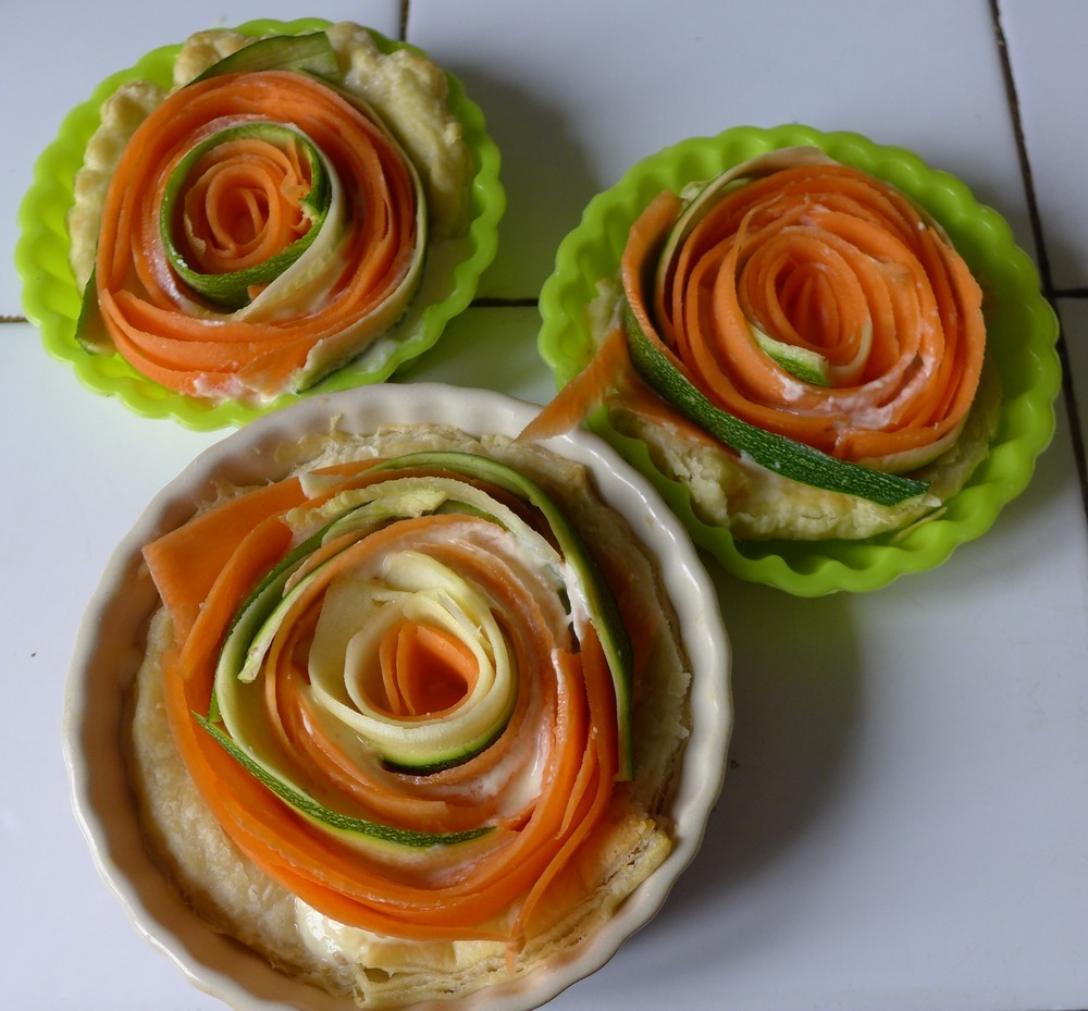 Tartelettes spirales aux carottes et gouda au cumin...