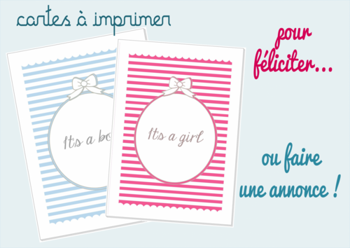 It's a boy / a girl (cartes à imprimer)