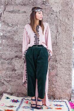 Pantalon en Velours aux Contours en Sfifa