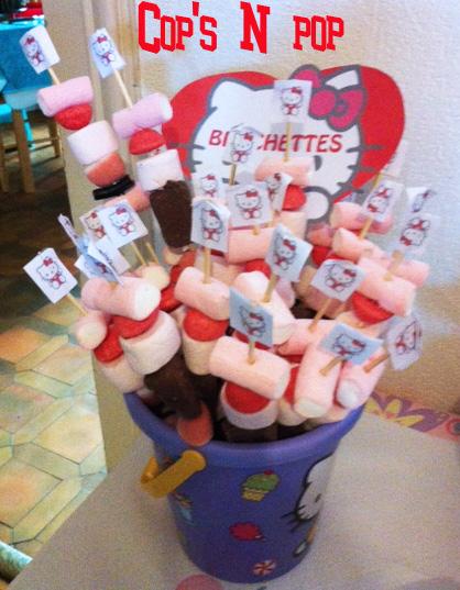 Brochettes de bonbons thème Hello Kitty
