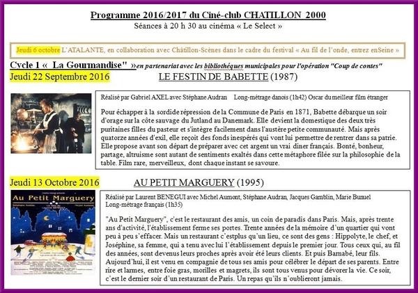 Programme 2016-2017 du Ciné-Club Châtillonnais