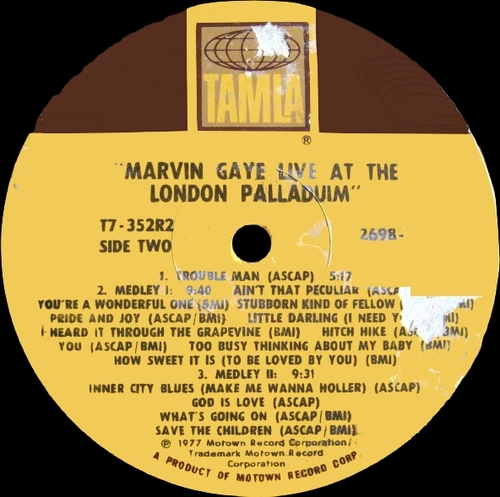 "Marvin Gaye : Album "" Live At The London Palladium "" Tamla Records T7-352R2 [ US ]"